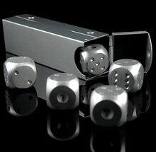 10 компл./лот 5 шт./компл. Казино Dice Игры Кубики Серебряный Алюминиевый Сплав Твердый Металл Азартные Игры Питьевой Кубики для Бар Партии Оптом(China (Mainland))