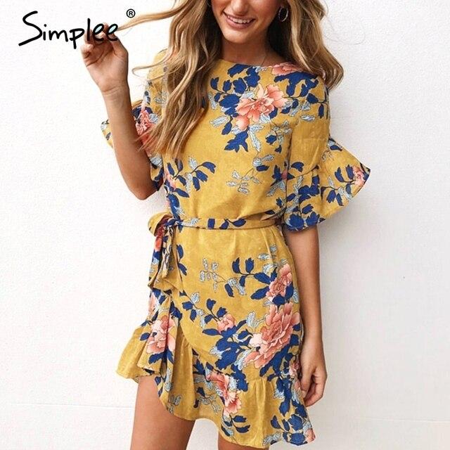 6d43828354eb7 Simplee Ruffle floral print summer dress women Short sleeve beach boho casual  dress 2018 robe femme short bohemian dress spring
