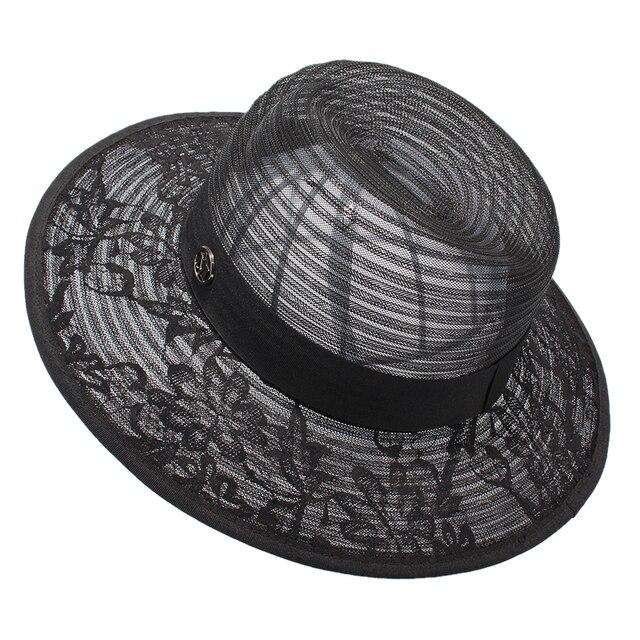 Las mujeres de Verano Sombreros de Sun Señoras Elegantes de Encaje Negro  Chapeu Panamá Beach Protección 358a30141dc