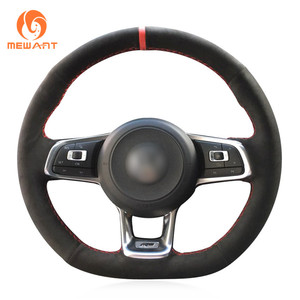 Image 3 - MEWANT Black Genuine Leather Hand Sew Steering Wheel Cover for Volkswagen VW Golf 7 GTI T Roc Passat Variant (R Line) Up! GTI