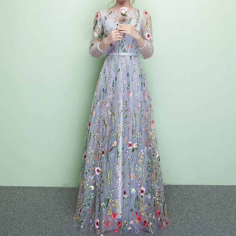 Ruthshen ホット販売ブラックチュール刺繍長袖女性スリムフォーマルウエディングドレスの床の長さパーティードレス  グループ上の ウェディング & イベント からの プロムドレス の中 3