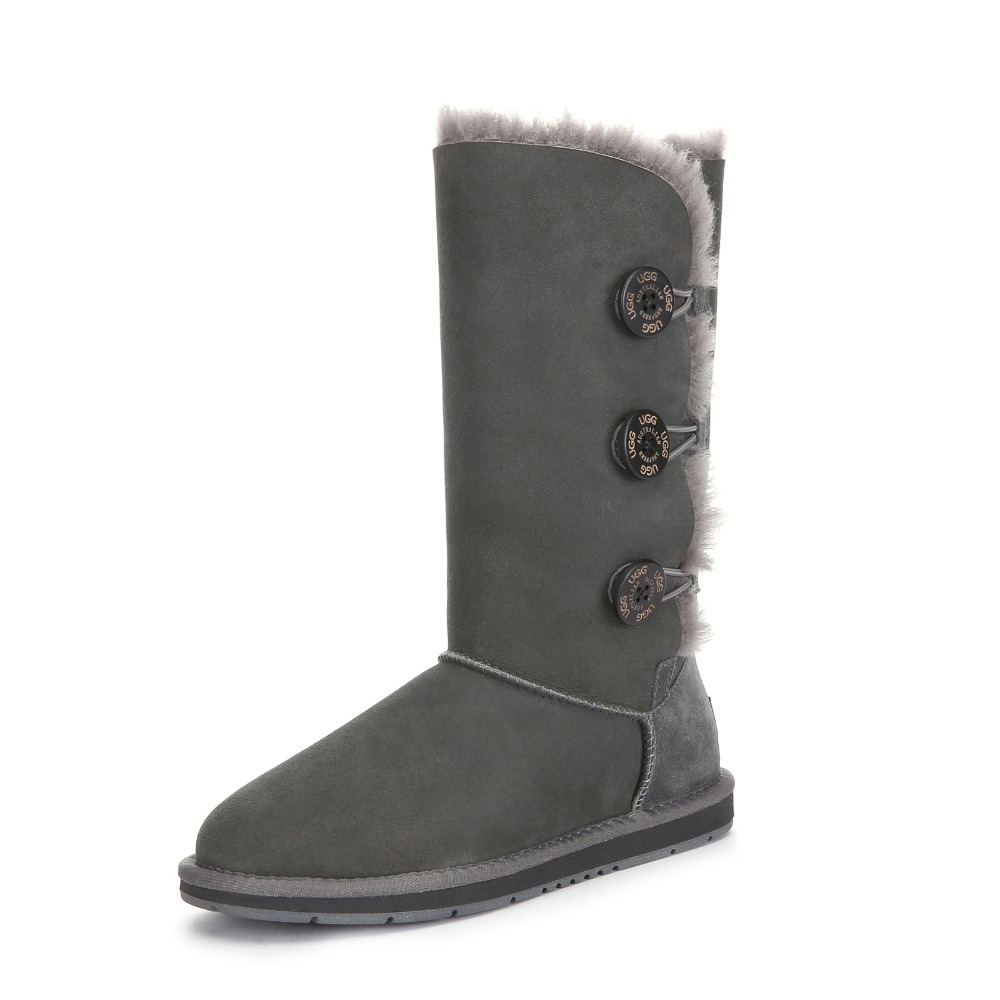 Ugg Eversheepskins Women Snow Boot Wool Sheepskin Tall Triple Button Pull On Casual Ladies Winter Boots Round Toe Flat #15902-in Snow Boots from Shoes on ...
