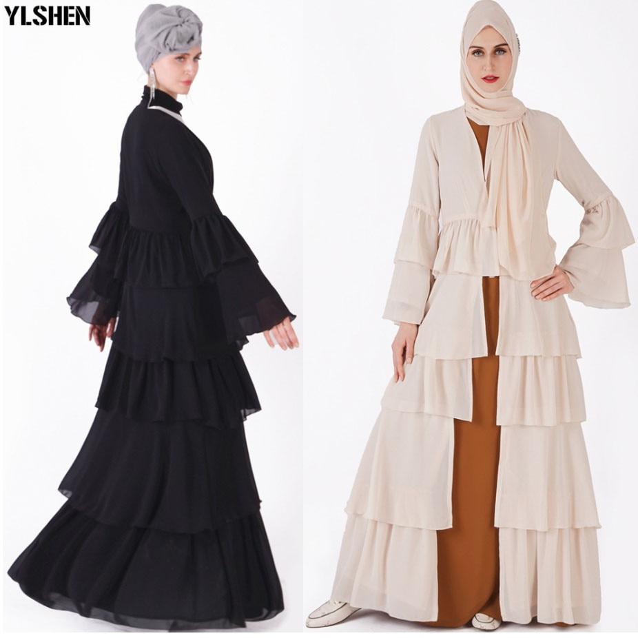 Ramadan Muslim Dress UAE Kimono Open Abaya Dubai Kaftan Ruffle Pleated Chiffon Hijab Dresses Women Turkish Islamic Clothing 2019