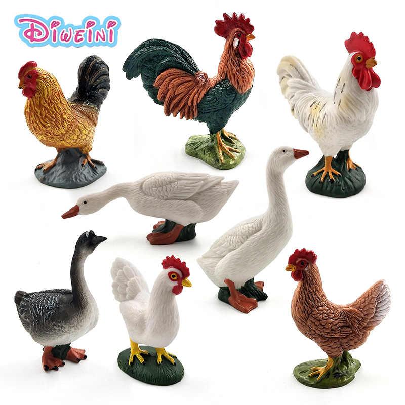 Frango Pato Ganso bonito action figure brinquedos de fazenda animais de plástico Presente modelo Para Crianças de decoração para casa acessórios de Artesanato Pvc estátua