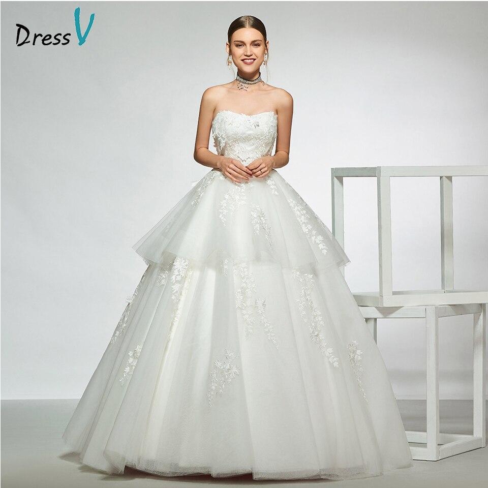 Elegant Ball Gown Wedding Dresses: Dressv Elegant Sample Strapless Appliques Wedding Dress