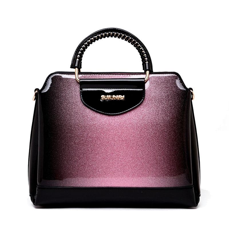 5b58995fc4bf ICEV Новый Европейский модные женские туфли кожаные сумочки лакированная  кожа сумки для женщин известных брендов Организатор дамы Офис