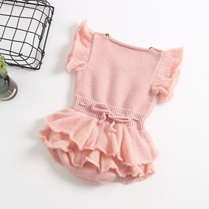 Image 4 - Bebek Tulum Yenidoğan Örme Bebek Giysileri Fırfır Bebek Kız Romper Pamuk Yün Prenses Bebek Bebek Tulum Kız Elbise