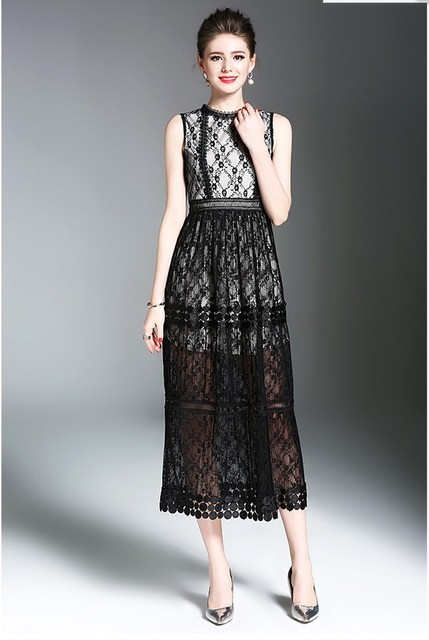 3425496995b7 New arrival Women's fashion slim lace black dresses girls casual summer  nice elegant beige lace dress sleeveless L#L250