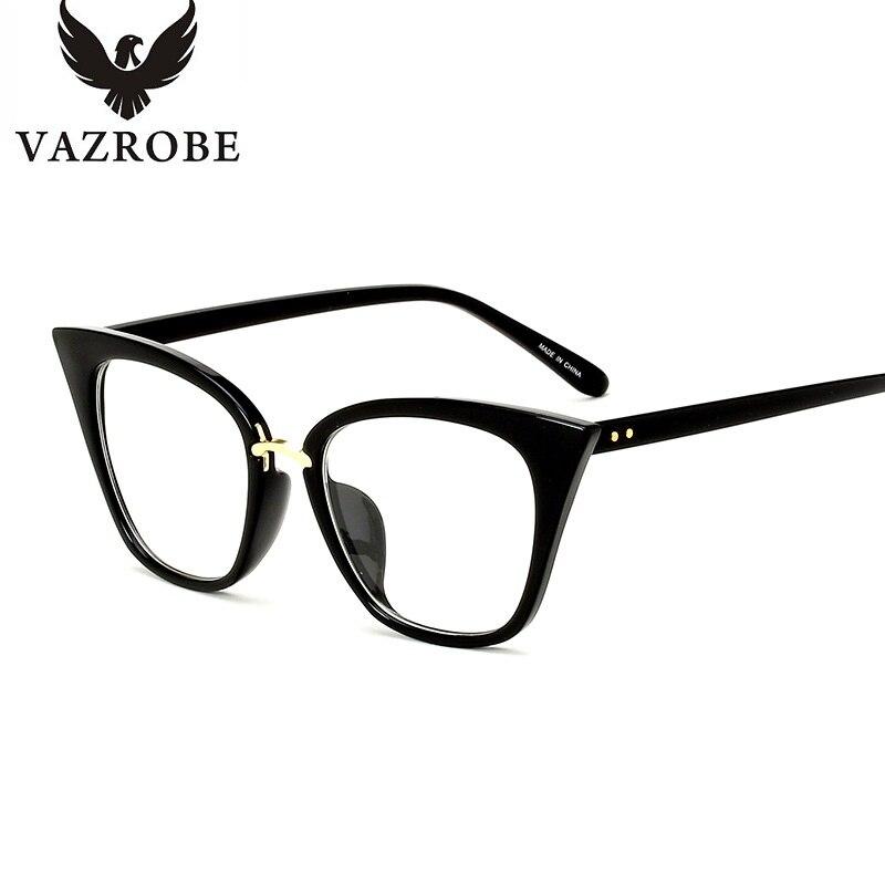 ffc08fa4527 Vazrobe oeil de chat femmes lunettes lunettes pour femmes Designer lunettes  cadre Grade vue Cateye cadres clair Transparent jante dans Lunettes Cadres  de ...
