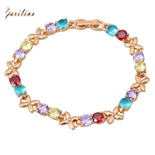 Top Quality Multi-color Round CZ stones Cluster Gold Bracelets & bangles fashion jewelry 17cm 6.69 inch B189