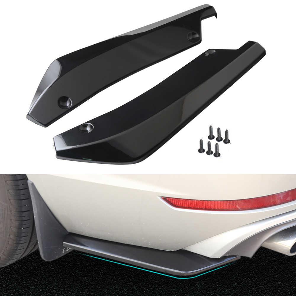 2pcs Universal Car Front Bumper Lip Black Carbon Fiber Splitters Winglets Canards V7 Style Splitter Diffuser Protection Bright Rear Splitter Lip