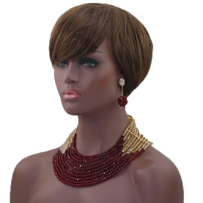 Derniers nouveaux invités de mariage perles africaines ensembles de bijoux Engagement Dubai or collier ensemble chaud livraison gratuite HX233 - 5