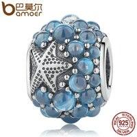 BAMOER Genuine 925 Sterling Silver Blue Oceanic Starfish Frosty Mint CZ Beads Fit Charm Bracelets Bangles