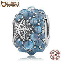 BAMOER Genuine 925 Sterling Silver Blue Oceanic Starfish Frosty Mint CZ Beads Fit Charm Bracelets Bangles