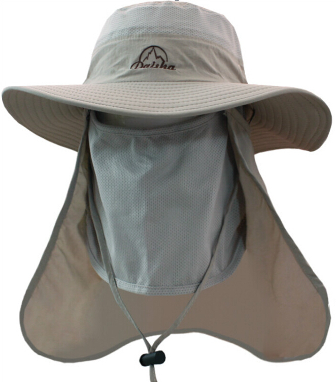 Outdoor Men Quick Drying Fishing Hat Women Sports Breathable Climbing Hats  Large Round Brim Visors Sun Hat With Face Neck Cover-in Bucket Hats from  Apparel ... 97d356926af