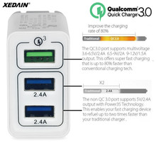 XEDAIN USB Charger Quick Charge EU/US 3.0 3-Port Mobile Wall Phone Charger for LG Xiaomi iphone Samsung Nexus Apple Smartphones