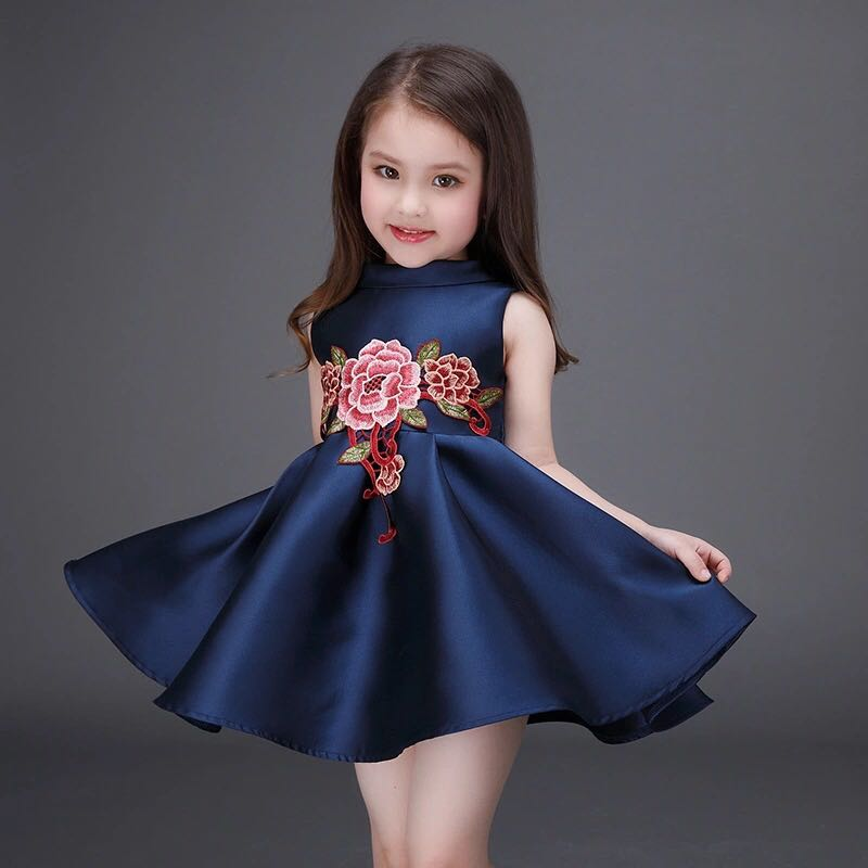 37e76106f3f7 summer girls dress embroidered flower princess kids party wedding dress 2 3  4 5 6 7 8 9 10 years old