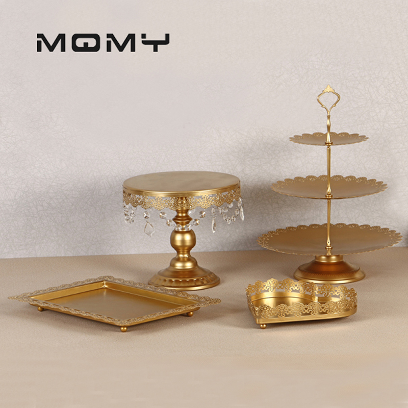 4Pcs/Set Wedding Birthday Party White Iron Cake Stands Baker Cake Plates Baker Cake Stand Bakeware Table Tools Coffee Food Tray