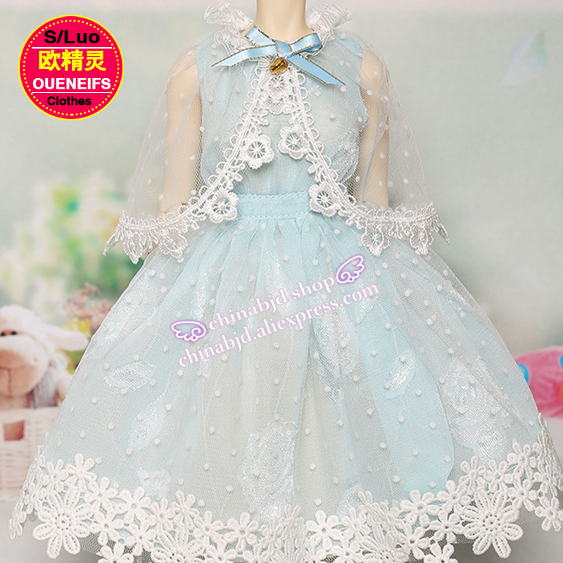 OUENEIFS free shipping Fresh style High waist  beautiful dress with a shawl nattierblue color 1/4 bjd sd doll clothes YF4-144