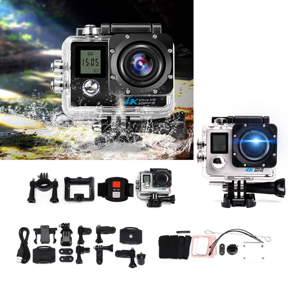 Ultra HD 4K Action Camera Wifi 1080P 16MP Dual Screen 170D Go Waterproof Pro cam 4K Sport Camera Mini Dvr+Remote Control action camera h3 4k ultra hd wifi 1080p go sj pro style with h3r remote control waterproof dual screen sport camera