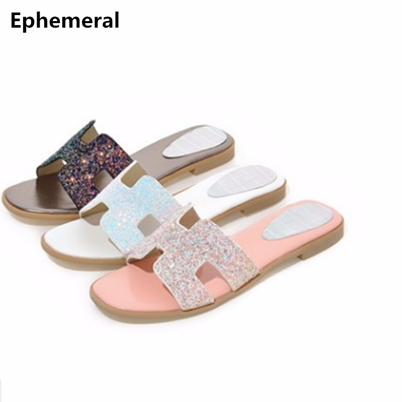 Women's slides open toe bling slippers summer plus size 34 14 13 pink gold silver ladies shoes flats outdoor 2018 new fashion