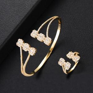 Image 4 - Роскошные модные Ювелирные наборы GODKI для женщин Свадебные циркониевые кристаллы CZ Дубай Свадебные наборы браслетов и колец современные женские серьги 2019