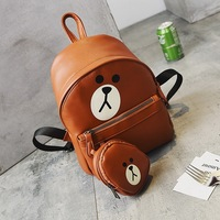 Brown Bear Pattern Women Leather Backpacks Girls Students School Bags With Charm Cartoon Cute Children Kids