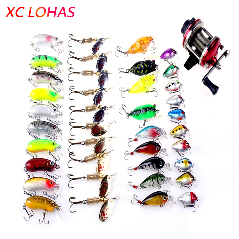 Super Deal 39 Fishing Lure Baits+1 Drum Fishing Reel Minnow Crankbait Cicada Spoon Jig Lures Set Fishing Tackle Dropshipping wldslure 4pcs lot 9 5g spoon minnow saltwater anti hitch crankbait hard plastic plainting fishing lures bait jig wobbler lure