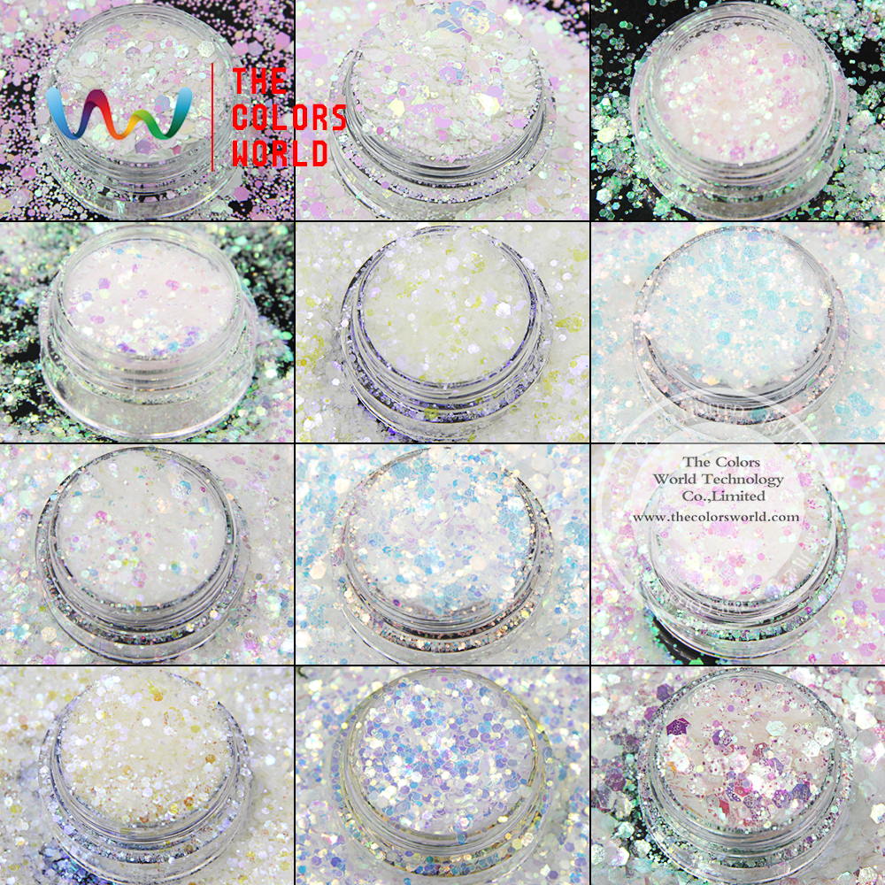TCT-008 Mix Iridiscente Rainbow White con múltiples colores Forma hexagonal Brillo para maquillaje de uñas arte DIY y decoraciones navideñas