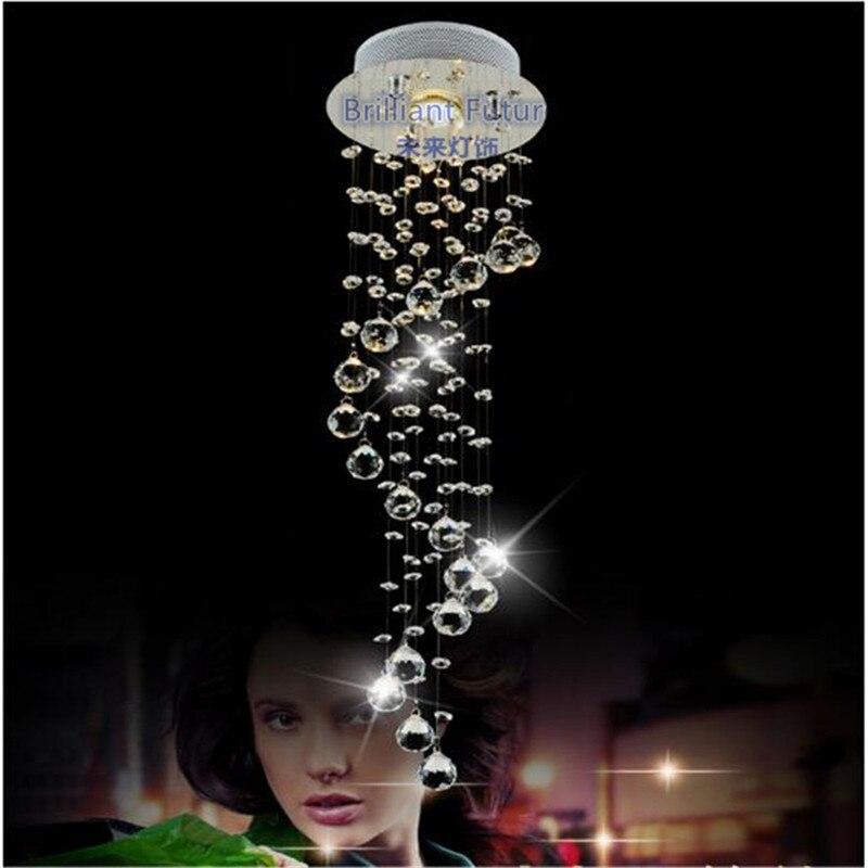 Lampe à LED K9 cristal pendentif lumières LED clair Waterford spirale sphère LED cristal éclairage Lustre plafonnier Suspension lampe