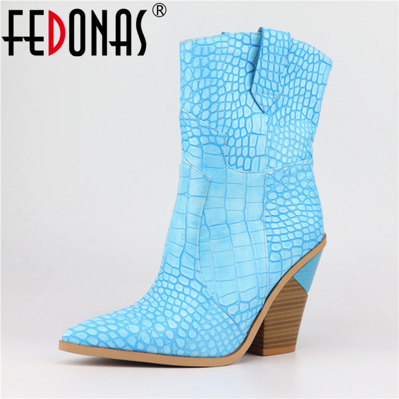 FEDONAS 2019 Mid calf Boots For Women High Heels Party Wedding Shoes Woman Sexy Pointed Toe