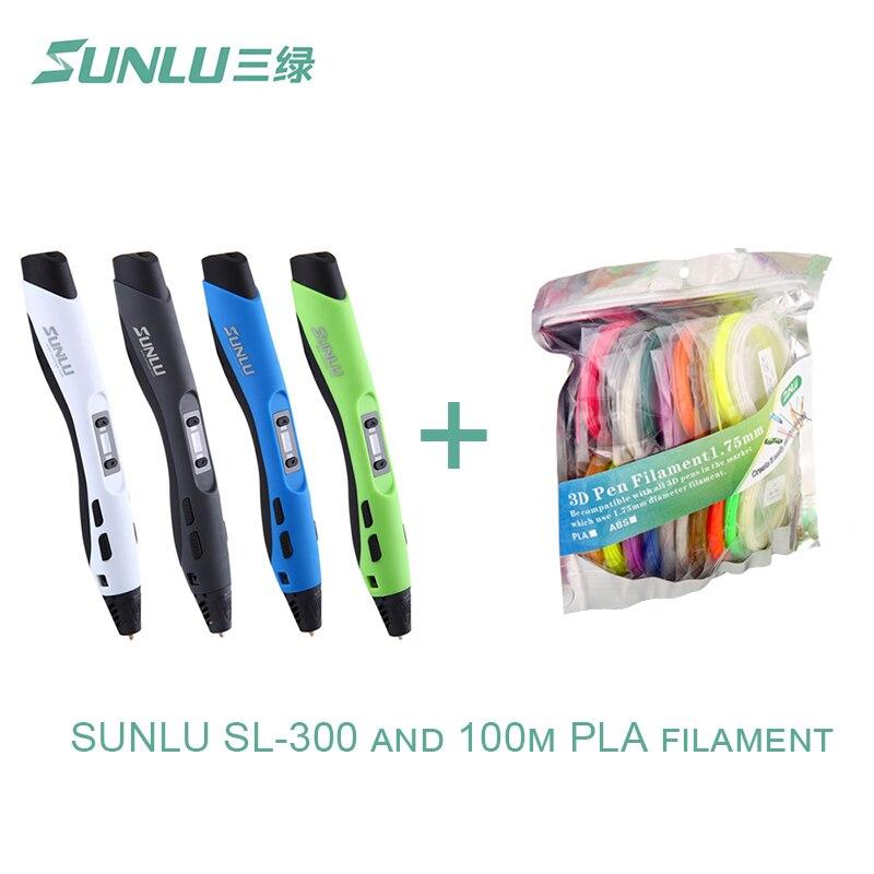 3D pen, SUNLU SL-300+ SUNLU PLA filament, Original SUNLU 3D printer pen, 20 color PLA with 4 Luminouse Light sunlu 3d printer filament color pla 1 75mm 3 0mm 1kg supplies