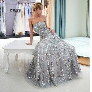 Image 3 - Luxury Bling Bling Sliver Prom Dresses 2020 A Line Strapless New Formal Long Evening Gowns vestidos de graduacion