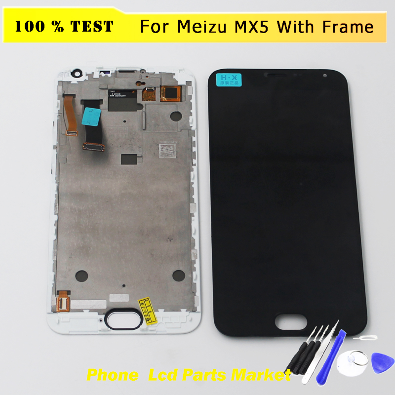 High Quality New Digitizer Touch Screen Panel + LCD Display Assembly For Meizu MX5 Cellphone 5.5 inch 1920*1080 Phone With Frame high quality 5 5inch for meizu m5 note 5 lcd display screen touch screen digitizer glass panel meilan note5 replacement assembly