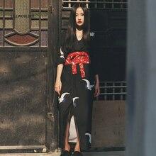 2017 SELLWORLDER Loose Japanese Kimono Style Elastic waist Cranes Print Woman Long Dress