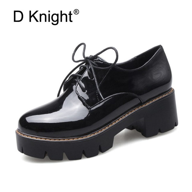 d82d2d578 2018 Plataforma Sapatos de Salto Grosso Mulher Sapatos Oxford Para As  Mulheres Apartamentos Trepadeiras Couro Oxfords