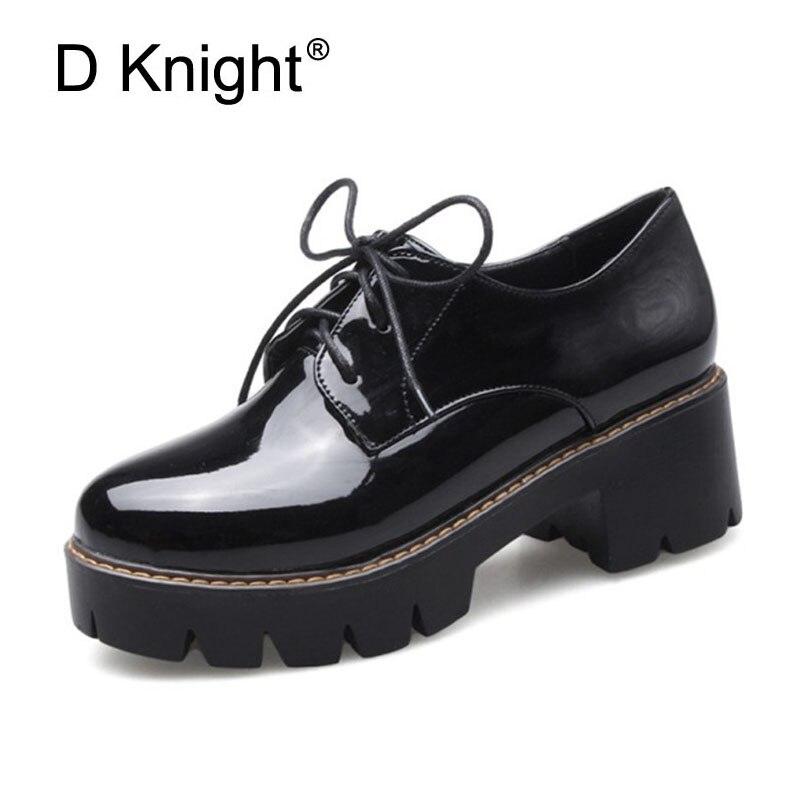 Para estrenar 2e5dd b2772 € 26.63 43% de DESCUENTO 2018 zapatos de plataforma para Oxford Mujer  Zapatos de tacón grueso para mujer zapatos de charol Casual Oxfords  primavera ...