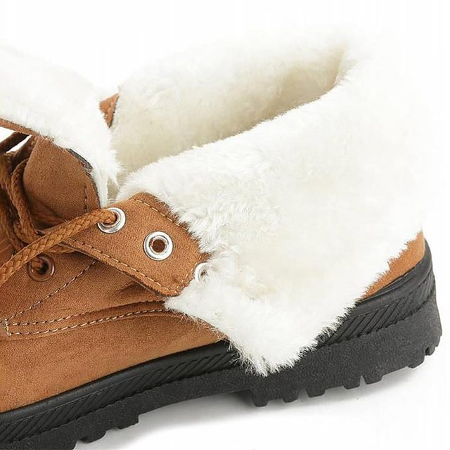 Warm Fur Plush Insole Women Winter Square Heels Ankle Boots