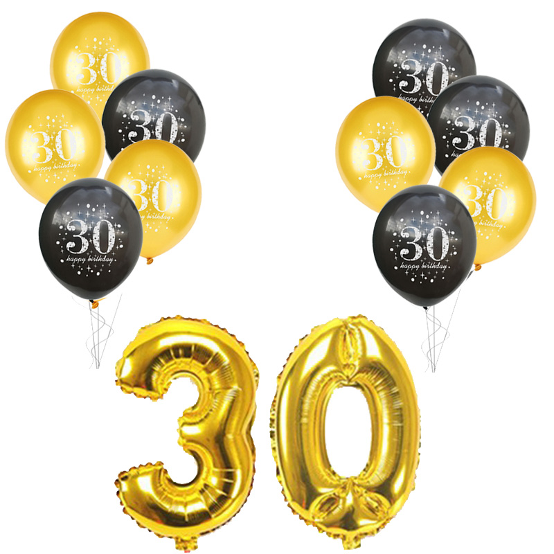 12pcs 60th Birthday Party Decors Balloon Gold 12inch Latex Ballons 16inch Number Foil Balloons Adult Birthday Party Supplies in Ballons Accessories from Home Garden