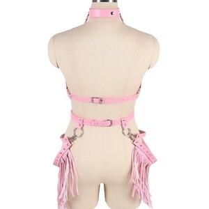 Image 5 - Harajuku Boho พู่สีชมพูหนัง Harness Bra ผู้หญิงถุงน่อง Garter Belt Strappy Top กรง Plus ขนาดชุดชั้นในชุด Rave เทศกาล