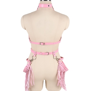Image 5 - Harajuku Boho Tassel Pink Leather Harness Bra Women Stockings Garter Belt Strappy Top Cage Plus Size Lingerie set Rave Festival