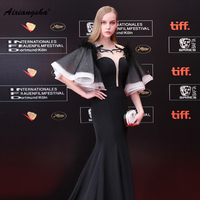 Elegant 2018 V Neck Floor Length With Belt Mermaid White Short Slevess Celebrity Dres Customized Fashionable