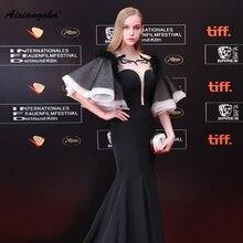 Elegant 2018 V-Neck Floor-Length With Belt Mermaid White Short Slevess Celebrity Dres Customized Fashionable New Arrival Ruffles