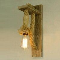 BEIAIDI クリエイティブヴィンテージ木製麻ロープ LED 壁ランプアメリカのレトロなウォールライト燭台レストランベッドサイドランプバーカフェホーム照明