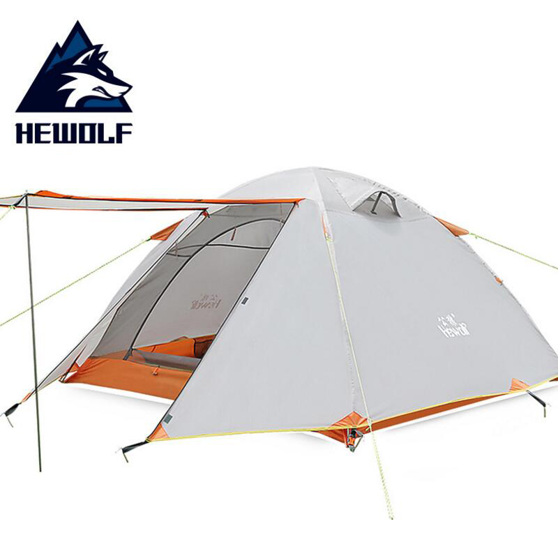 Hewolf Hiking Waterproof Tent 3 People Ultralight Double Layer Hiking 4 Season Fishing Outdoor Camping Tent Family Aluminum Pole