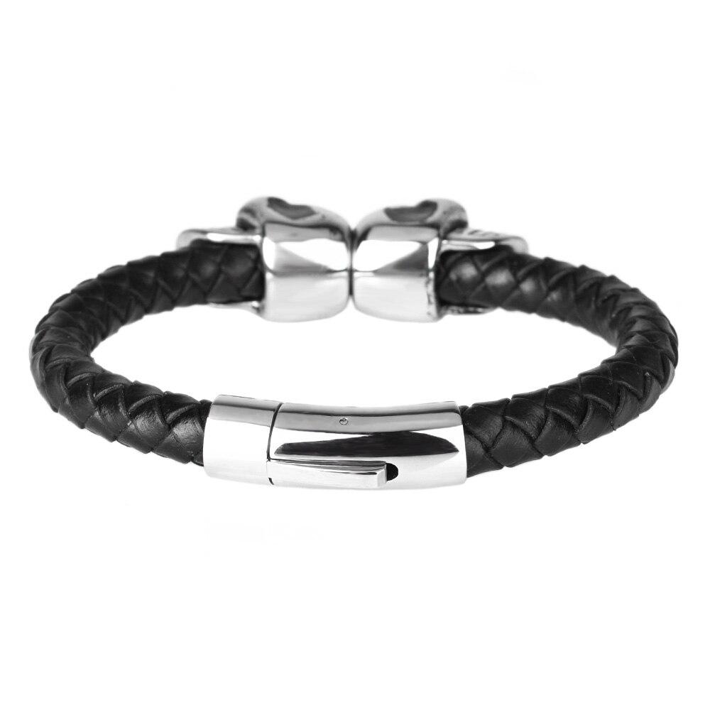 Kirykle mode tressé Bracelets en cuir crâne Bracelet Punk Bracelet en acier inoxydable boucle magnétique Bracelets de mode 3