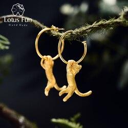 اللوتس متعة ريال 925 فضة أقراط الإبداعية اليدوية غرامة مجوهرات لطيف 18K الذهب الكونغ فو القط انخفاض الأقراط للنساء