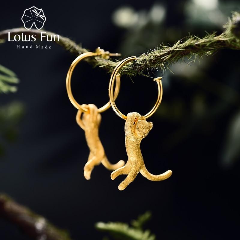 Lotus Fun Real 925 Sterling Silver Earrings Creative Handmade Fine Jewelry Cute 18K Gold Kung Fu Cat Drop Earrings For Women