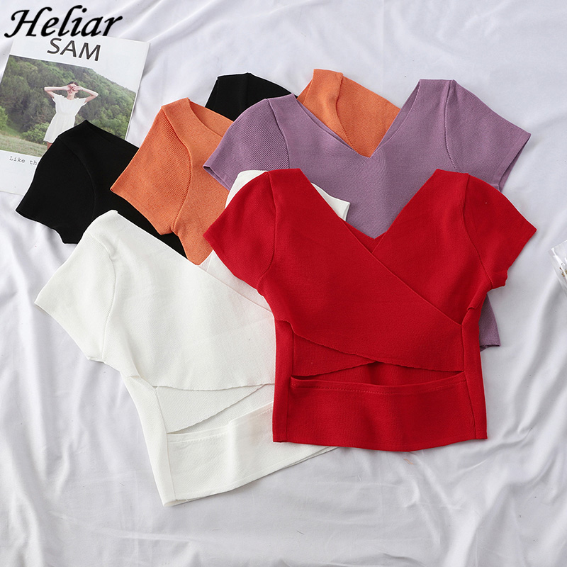 HELIAR 2020 Summer Knitting T-shirt Women Tops Female Backless Sexy Tops Ladies Cotton Tees Solid Short Sleeve T-shirt Women