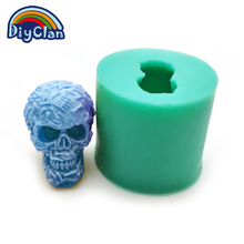 (1pc/lot) Free shipping DIY silicone molds for cake pudding jelly dessert chocolate mold 3D Halloween skull handmade soap mould